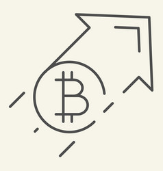 bitcoin growth thin line icon growth arrow with vector image