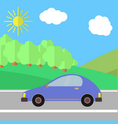 blue car on a road on a sunny day vector image