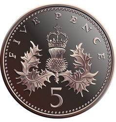 British money gold coin 5 pence vector