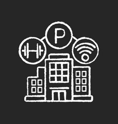 Building amenities chalk white icon on black vector