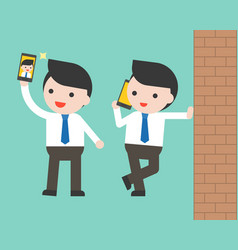 Businessman using cellphone selfie and wall ready vector