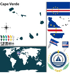 Cape Verde map world vector image