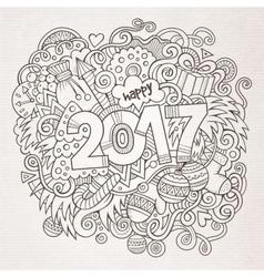 Cartoon cute doodles hand drawn 2017 year vector image