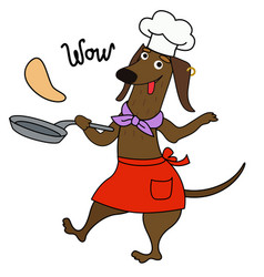 Cartoon dachshund chef cooks pancakes wow vector