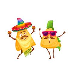 Cartoon mexican nachos chips happy characters vector