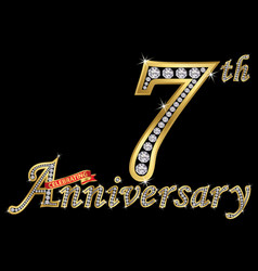 Celebrating 7th anniversary golden sign with vector