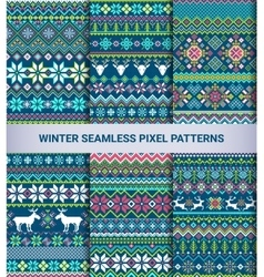 Collection pixel bright seamless patterns vector