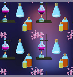 Colorful chemistry scientific seamless pattern vector