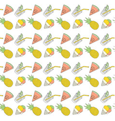 Colorful summer seamless pattern with tropical vector