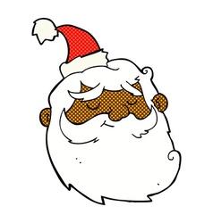 Comic cartoon santa claus face vector