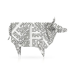 Cow paper origami toy vector
