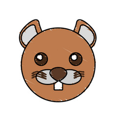Cute beaver drawing animal vector
