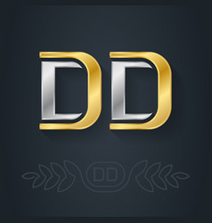 d and d - initials dd - metallic 3d icon or vector image