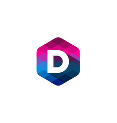 d hexagon pixel letter shadow logo icon design vector image