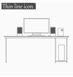 Desk table icon Style thin line vector image