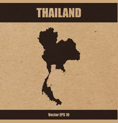 detailed map of thailand on craft paper vector image