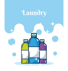 Detergent bottles laundry concept vector