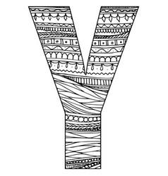 Entangle stylized alphabet - letter y black vector