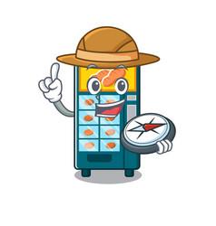 explorer bakery vending machine in a mascot vector image