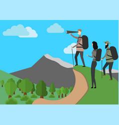 Explorer concept hiker in mountains landscape eps vector