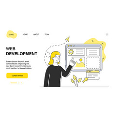 female character is working on web development vector image