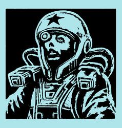 female face astronaut in helmet vector image