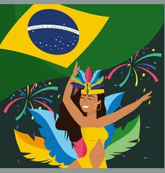 girl dancer with fireworks and brazil flag vector image