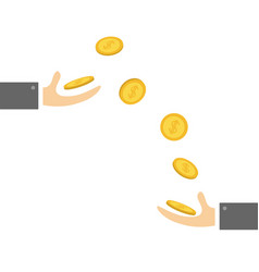 Giving taking hands with falling down golden coin vector