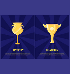 golden trophy cup for champion vector image