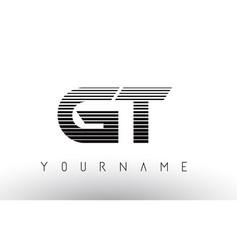 Gt g t black and white horizontal stripes letter vector