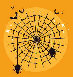 halloween card with spider web and bats flying vector image