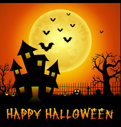 halloween haunted castle with bats and trees vector image