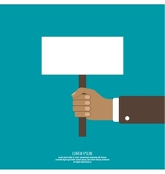 Hand holding a blank placard vector