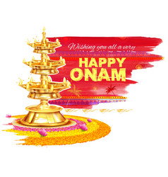 Happy onam background with rangoli and lamp vector