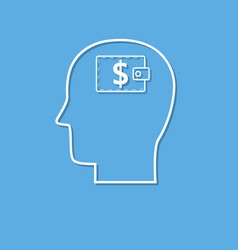 head with dollar symbol icon cut from white paper vector image
