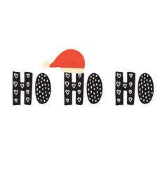 Ho ho ho hand drawn phrase with a santa claus hat vector