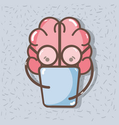 Icon adorable kawaii brain reading book vector