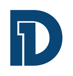 initial letter and number symbol d1 and 1d logo vector image