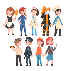 kids various professions set maid coach vector image