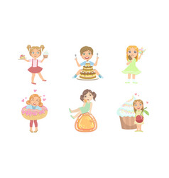 kids with sweet desserts set happy boys and girls vector image