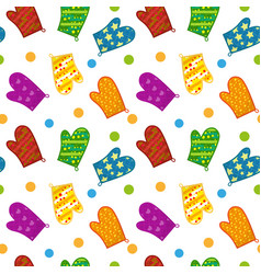 Kitchen potholders seamless pattern mittens for vector