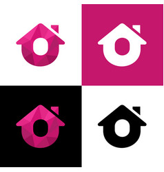 Letter o home logo design abstract house low poly vector