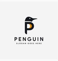 Letter p for penguin logo icon template vector