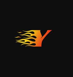letter y burning flame logo design template vector image