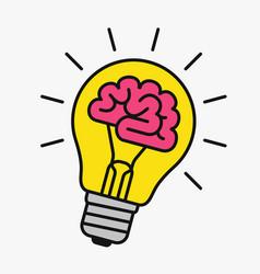 Light bulb with a brain inside vector