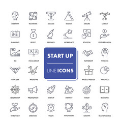 line icons set start up vector image