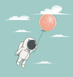 little astronaut fly with red balloon vector image
