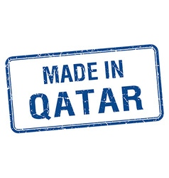made in Qatar blue square isolated stamp vector image