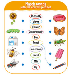 Match words with correct pictures game for vector