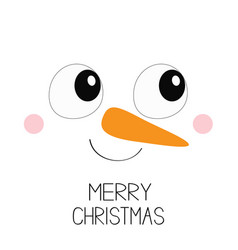 Merry christmas snowman square face icon big eyes vector